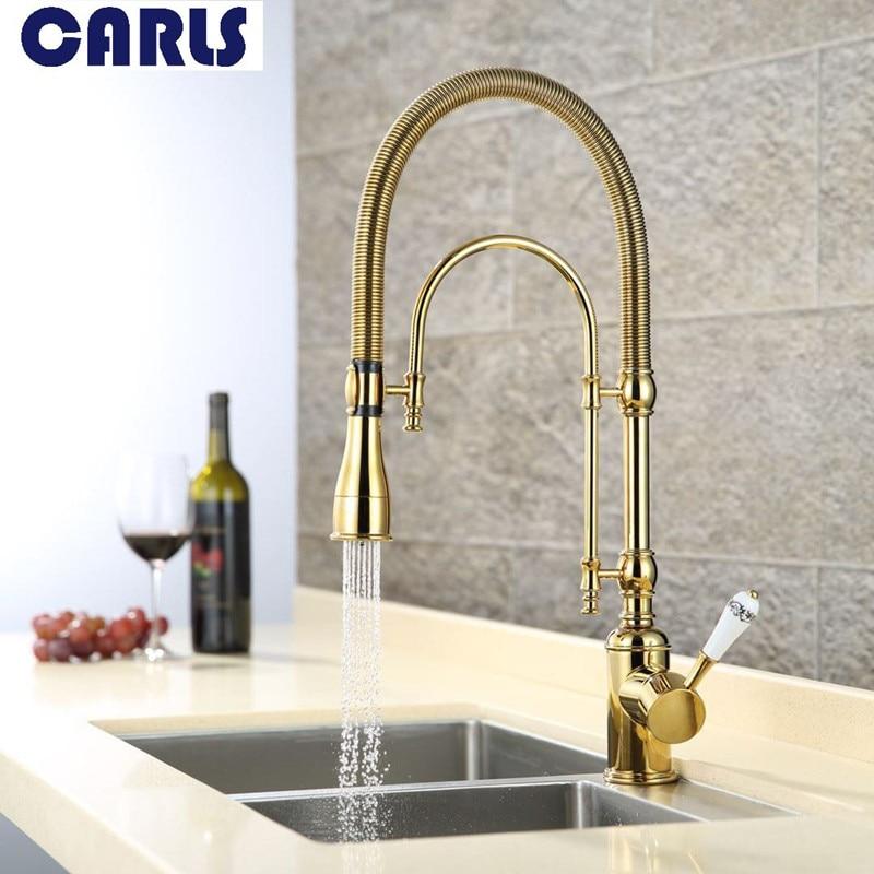CARLS Creativo Domestici di lusso rubinetto Della Cucina acqua Calda e Fredda rubinetto Titanio Oro Europeo tutto il Rame Rotante rubinetto serbatoio