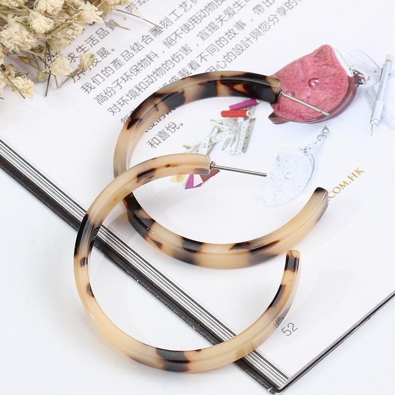 Akrylowe Hoop kolczyki dla kobiet Leopard Print Big C kolczyk biżuteria Brincos Aros mujer oreja Aretes Pendientes Boucle d'oreille w Kolczyki kółka od Biżuteria i akcesoria na  Grupa 1
