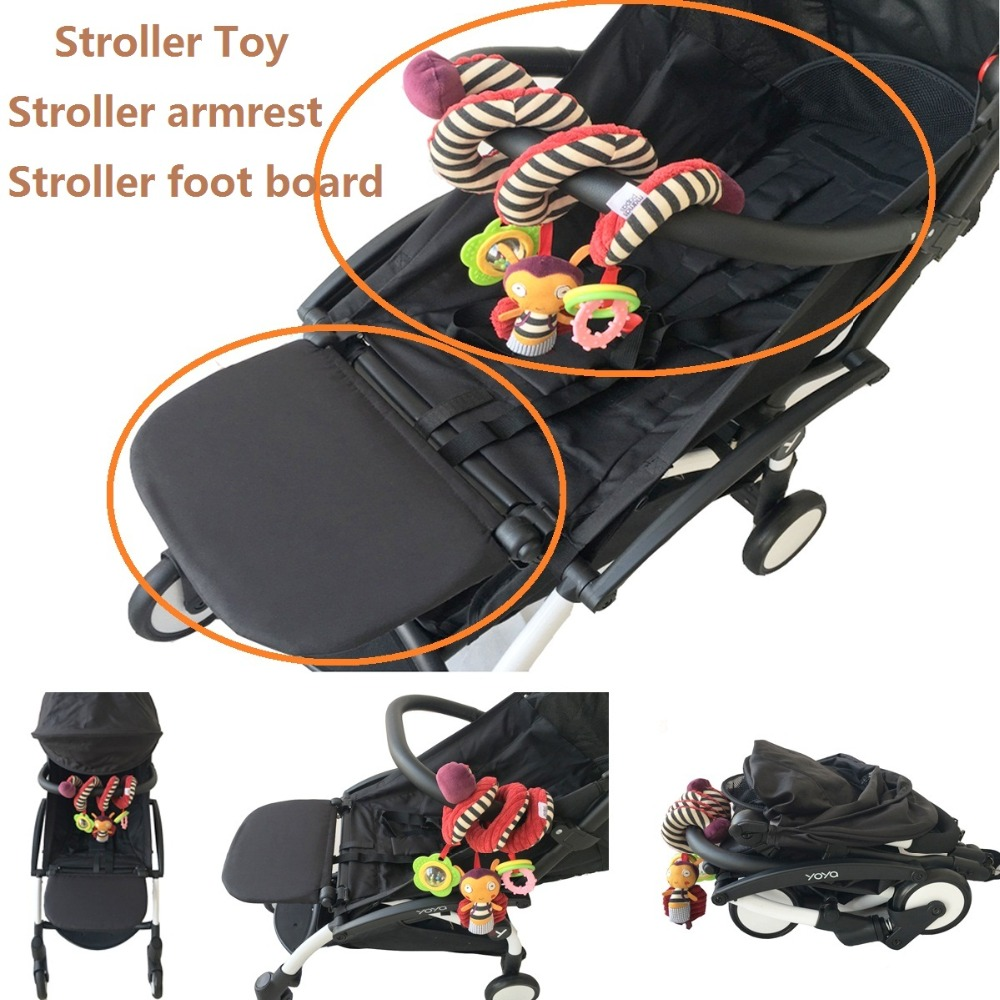 3pcs/set Stroller Accessories Armrest For Babyzen Yoyo Extend Footboard And PU Leather Bumper And Stroller Handle Toy For Yoya