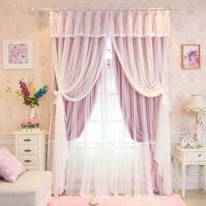 Индивидуальный заказ принцесса красота 3 слоя занавески для спальни Девушки Кружева отвесный Тюль Шторы принцессы гостиной окна шторы