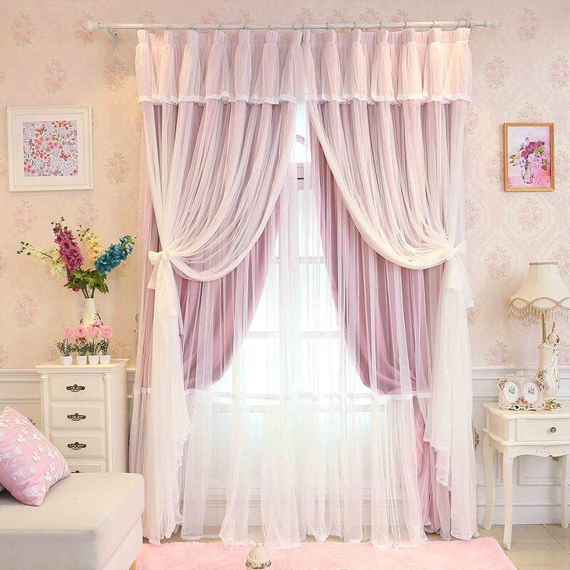 custom made princesse de beaut 3 couches rideau pour fille chambre dentelle sheer tulle. Black Bedroom Furniture Sets. Home Design Ideas
