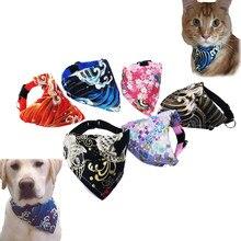 Lenço de gola de gato de cachorro pequeno ajustável 6 cores imprimir filhote de cachorro gatinho bandana neckerchief acessórios para animais de estimação cães gatos lenços kedi