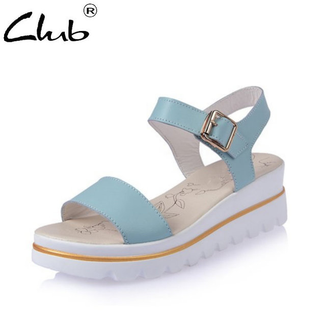 Club Woman Sandals 2018 Summer Platform Buckle Strap Casual Ladies Sandals  Fashion Open Toe Shoes Wedge