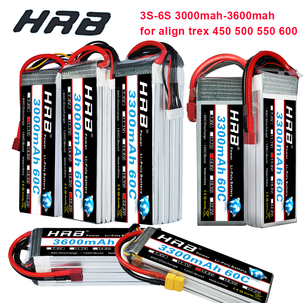 Hrb Rc Lipo Battery 3s 4s 5s 6s 3000mah 3300mah 3600mah 60c Brust Rate 120c For Trex 500 550 600e Align Helicopter Trex