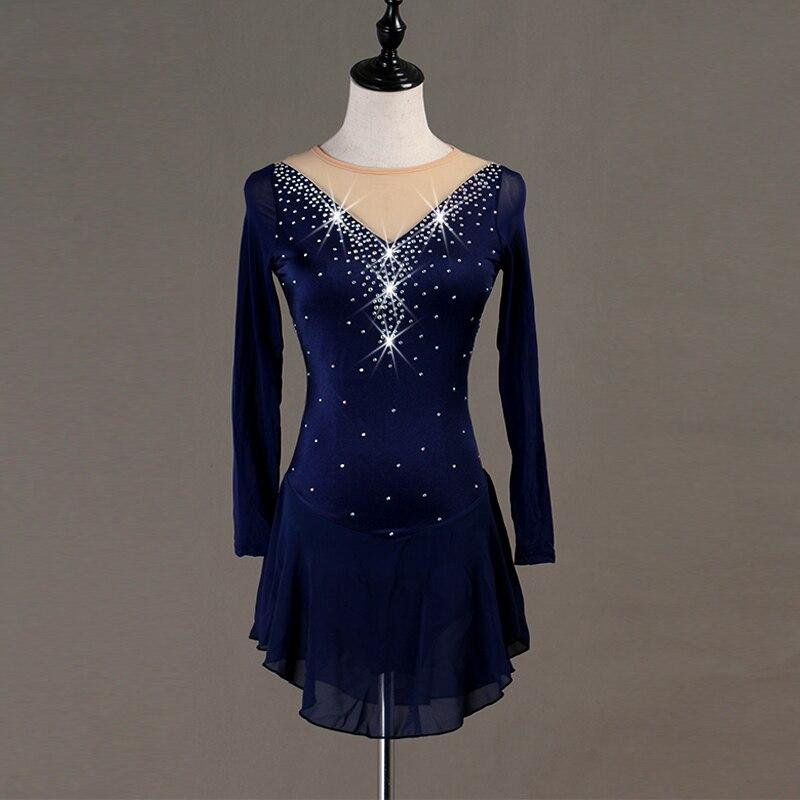 Robe de patinage artistique femmes bleu profond à manches longues brillant strass professionnel robe de patinage filles compétition Dancewaer B019