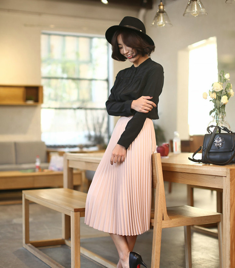 CRRIFLZ 19 Spring Autumn Fashion Women's High Waist Pleated Solid Color Half Length Elastic Skirt Promotions Lady Black Pink 4