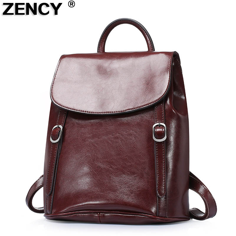 cc79fa5ccc0e ZENCY Large Capacity Vintage 2017 Fashion Famous Brands Genuine Real Second  Layer Oil Wax Leather Women Backpacks Cowhide Bag
