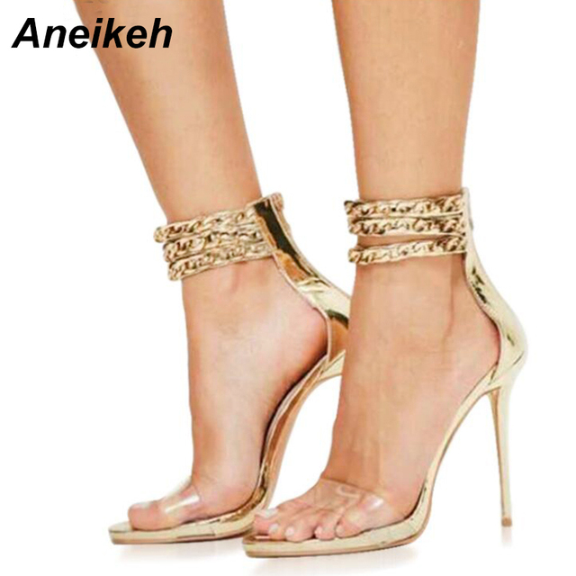 Aneikeh Women Gladiator Sandals PVC Crystal Transparent Metal Chain Ankle  Strap High Heels Ladies Stiletto Pumps Shoes 590-38  eb3555b7dc69