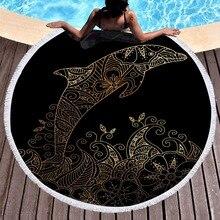 Adults Beach Cover-Up Yoga Blanket Dolphin Print Tapestry Round Microfiber Bath Tassel Towel Swim Beach Shawls Thick Camping Mat dandelion print tapestry