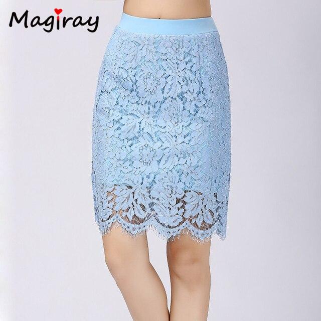 579aa1eb9a Magiray Knee Length Skirt Women Lace Floral Pencil Skirt Black White High  Waist Casual Career 2019 Summer Female Slim Skirt C577