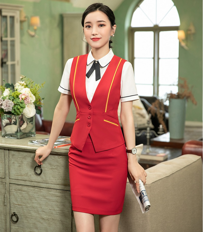 Fashion Styles Novelty Red Formal Business Suits With Tops And Skirt Ladies Vest Coat & Waistcoat Sets Female Work Wear Blazers