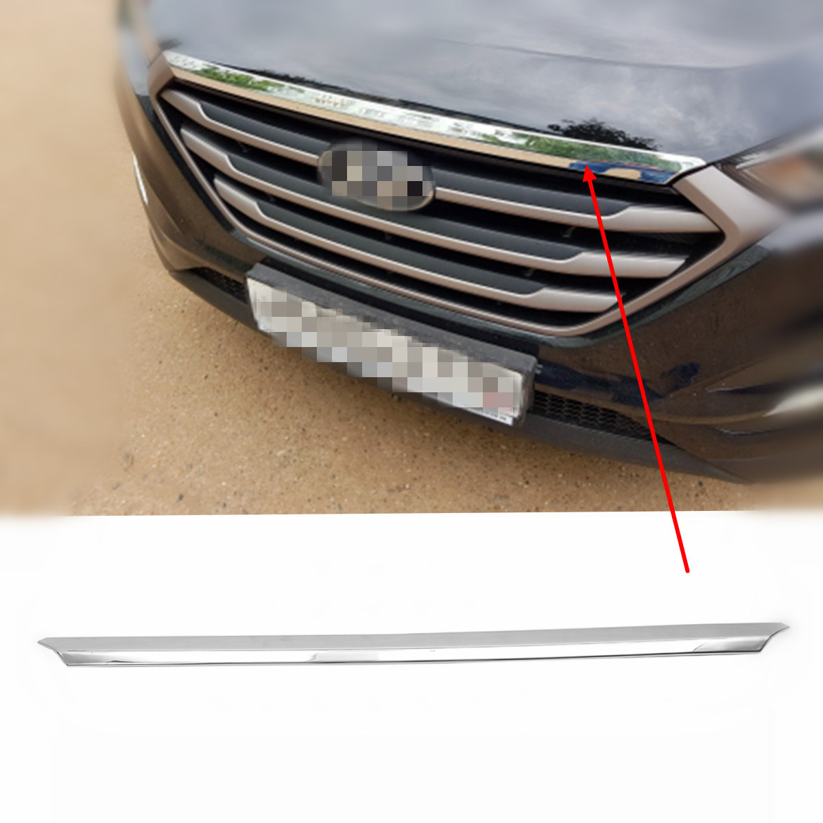 цена на Car-Styling Accessories ABS Front Chrome Grille Decoration Trim Cover for Hyundai Tucson 2015 2016 2018