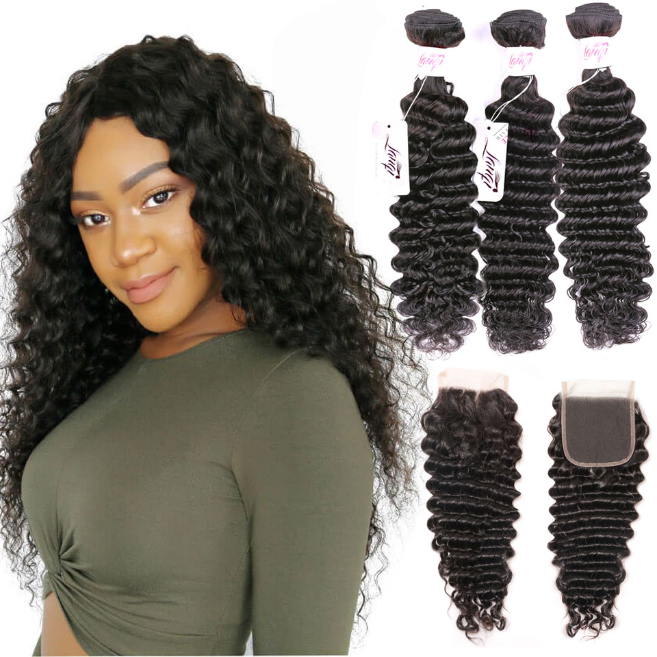 brazilian deep wave bundles with closure Peruvian hair weave bundles with closure lanqi non remy human hair 3 bundles with closure