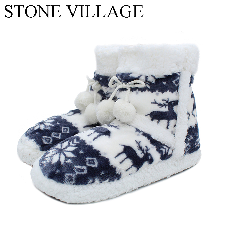New Arrival 2018 Christmas Elk Household Slippers 6 Colros Warm Soft Woolen Indoor Slippers Women Slippers Winter House Shoes woolen monster house shoes slippers color assorted pair