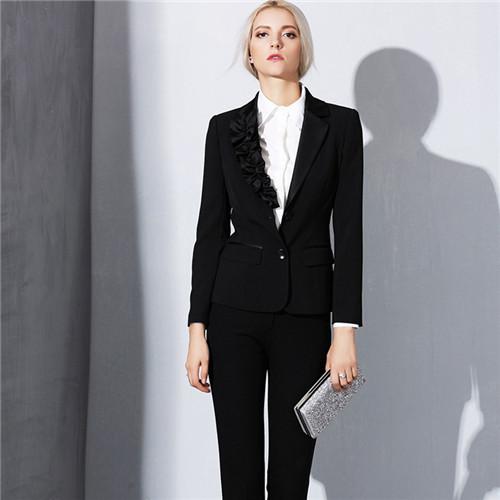 Plus Size Blazer Calça Terno 2017 Runway Preto Blazer Jaquetas + Calças Mulheres 2 Peça Conjunto Terno para o trabalho formal wear escritório longo pant