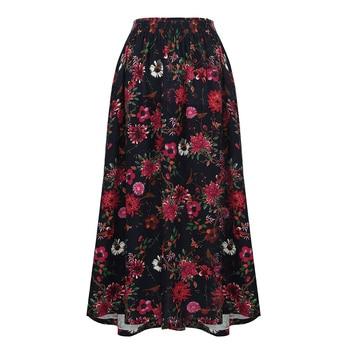 Romacci Vintage Jupe Longue Imprimé Floral Taille Élastique Boho Maxi Jupe Poche Casual A-Line Jupes Plissées Femme Jupe Femme 2018