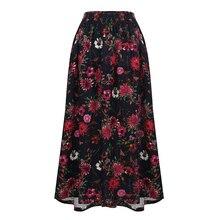 Romacci Vintage Long Skirt Floral Print Elastic Waist Boho Maxi Skirt Pocket Casual A-Line Pleated Skirts Womens Jupe Femme 2019