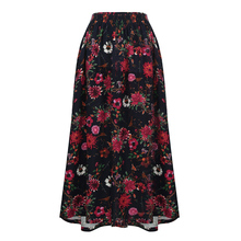 Romacci Vintage Long Skirt Floral Print Elastic Waist Boho Maxi Skirt Pocket Casual A-Line Pleated Skirts Womens Jupe Femme 2018