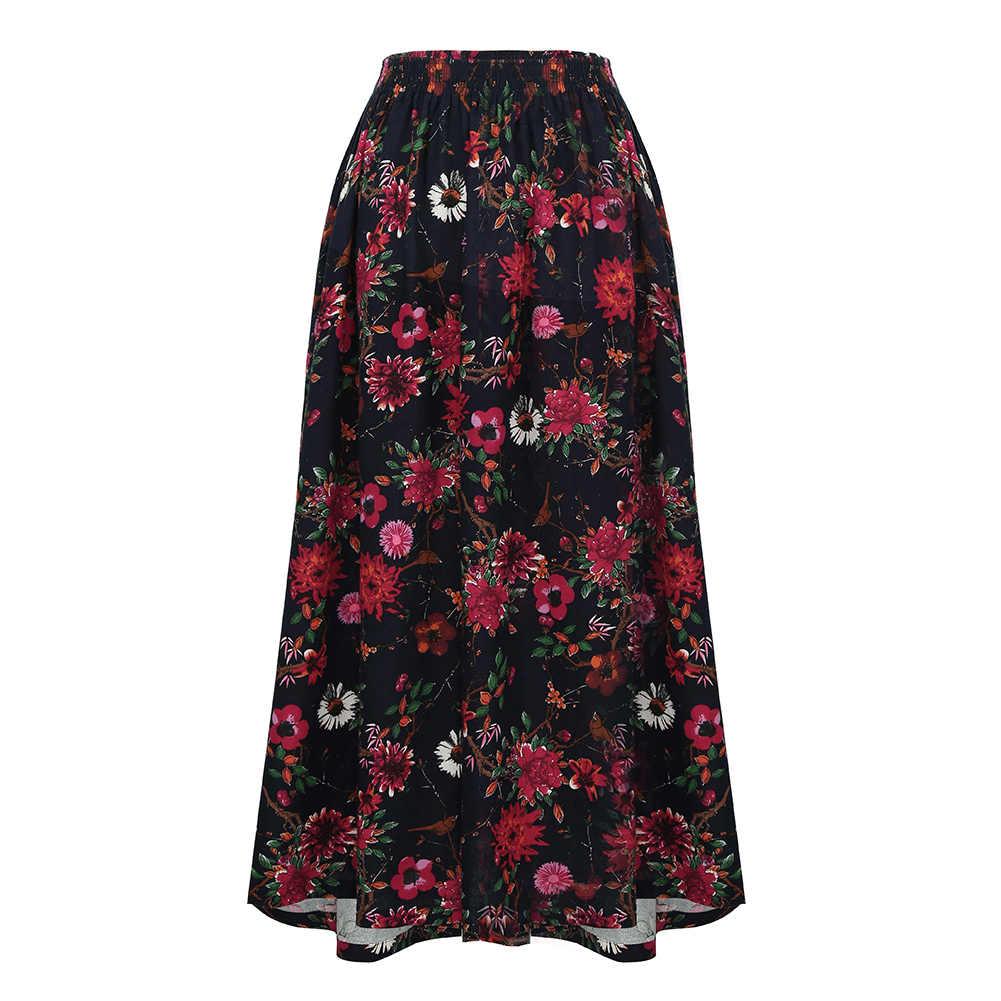 26b689fcc49 Romacci винтажная длинная юбка цветочный принт эластичный пояс юбка макси в  стиле бохо карман повседневное А