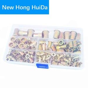 Image 2 - Zinc Plated Rivet Nut Metric Threaded Insert Rivetnut Standard Nutsert M3 M4 M5 M6 M8 M10 M12 Assortment Kit Carbon Steel,150Pcs