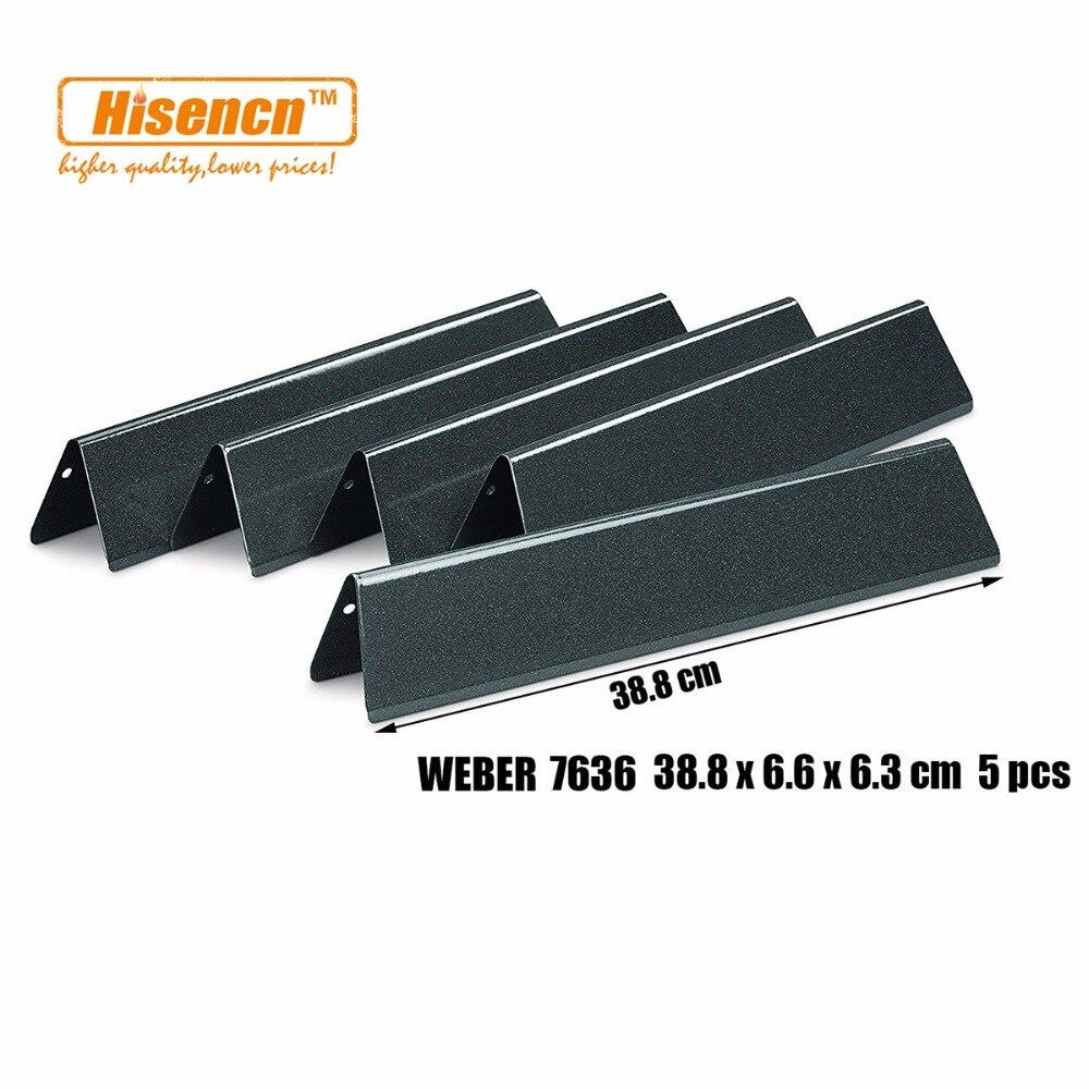 Hisencn 5pcs Porcelain Enamelled Flavorizer Bars Heat Plate 38.8 cm Replacement Parts 7636 For Weber Spirit 300 Series g
