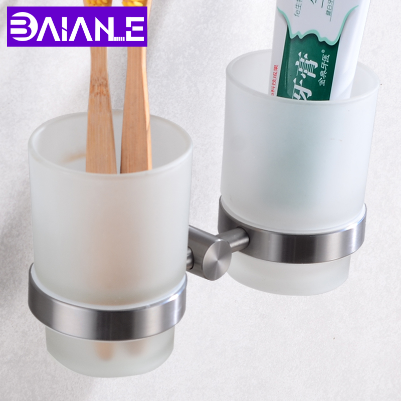 Cup Tumbler Holders Stainless Steel Toothbrush Tooth Cup Holders Set Wall Mounted Double Glass Cup Holders Bathroom Hardware