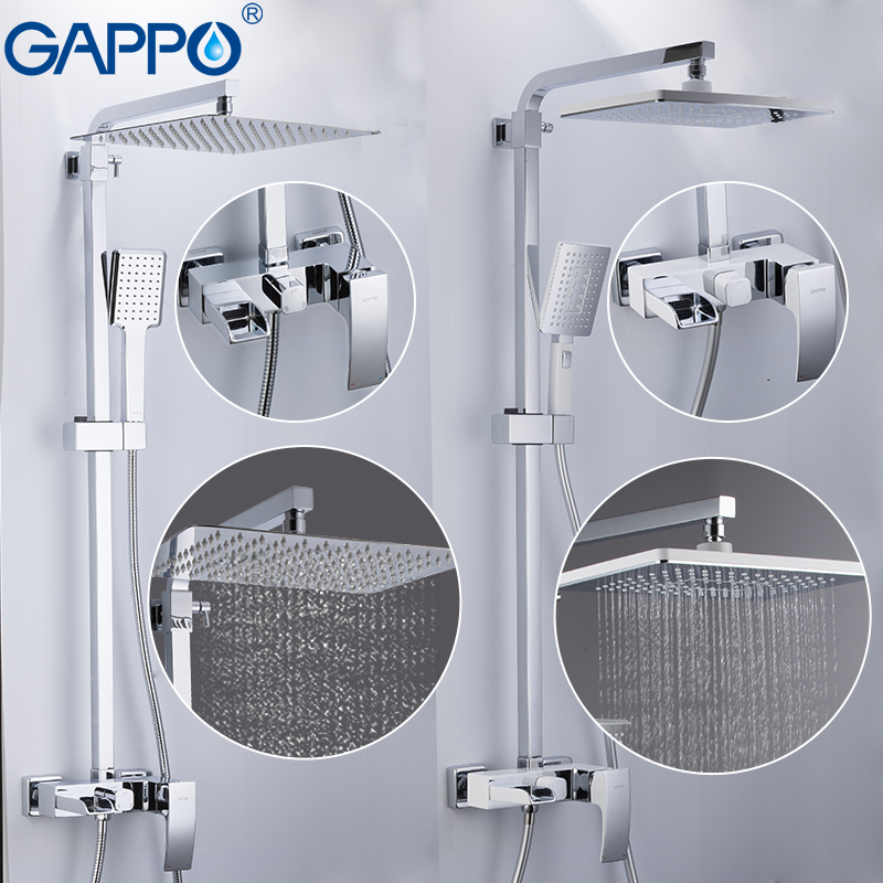 GAPPO Sanitary Ware Suite brass bathroom shower set wall mounted massage shower head bath mixer bathroom shower faucet tap