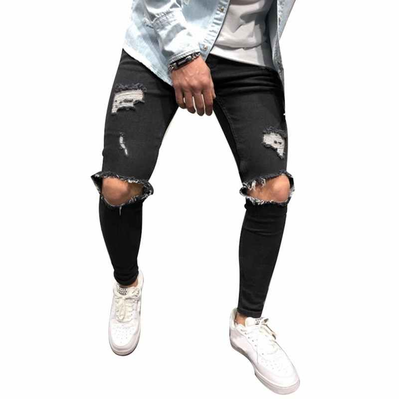 a050f394c8acf Detail Feedback Questions about LASPERAL 4XL Ripped Jeans Men Slim Fit Hi  Street Mens Knee Holes Distressed Denim Joggers Skinny Pants Male 2019  Fashion ...