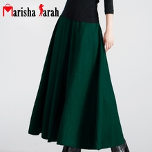 Autumn Winter Women High Waist Ankle Length Long Warm Skirts Plus Size Pleat A-line Woolen Slim Skirt Streetwear Large Swing