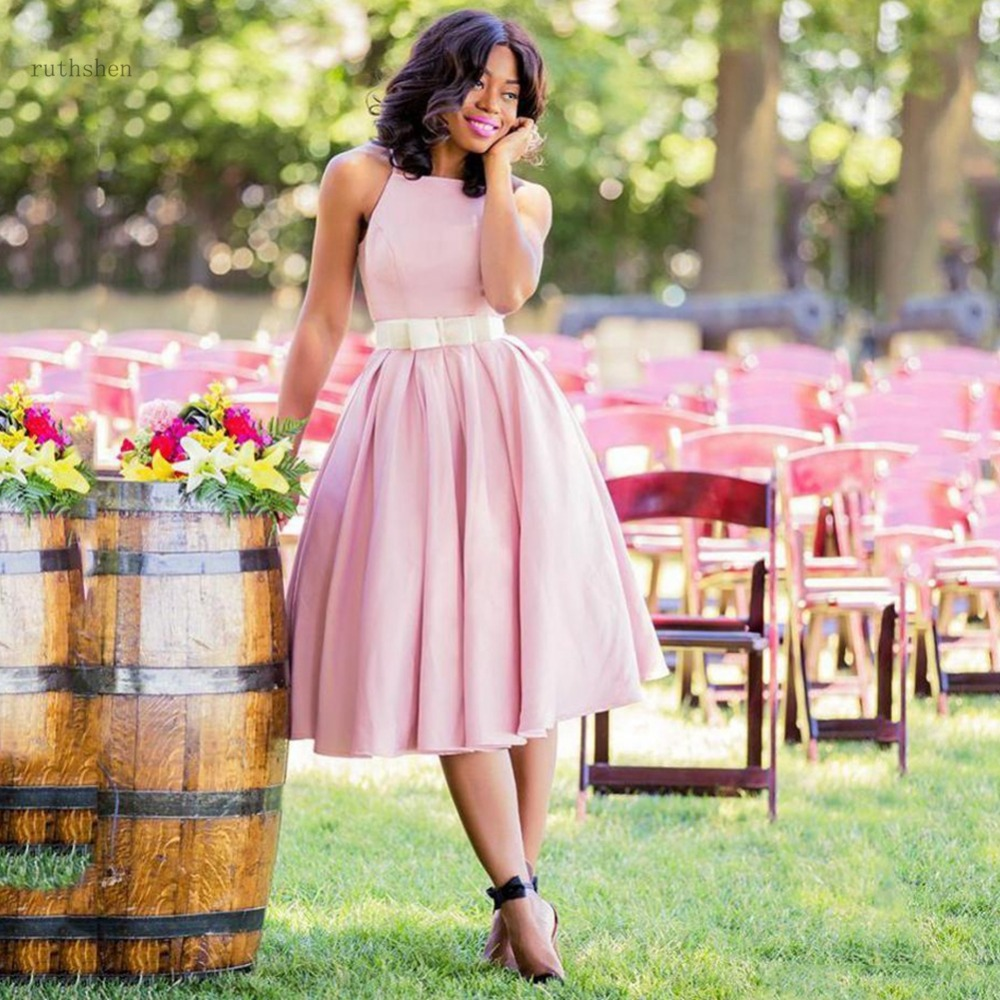 Short Bridesmaid Dresses Pink Sash bow Jewel Sleeveless A Line Knee length Wedding Guest Gowns Zipper Back Party Dress