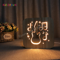 LED Night Lights Guitar Cello Saxophone 3D Lamp USB Power Wooden Carving Table Lamp Decorative Lamps for Living Room