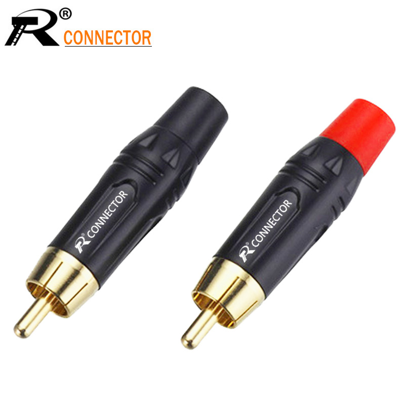 20pcs RCA Connector High Quality RCA Male Connector Gold Plating Audio Adapter Black&red Pigtail Speaker Plug For 7MM Cable