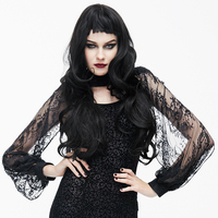 EVA LADY Gothic Style Lace Cappa Shawls for Women Autumn Winter Black Collar Long Sleeves Wraps Female Clothing Accessories