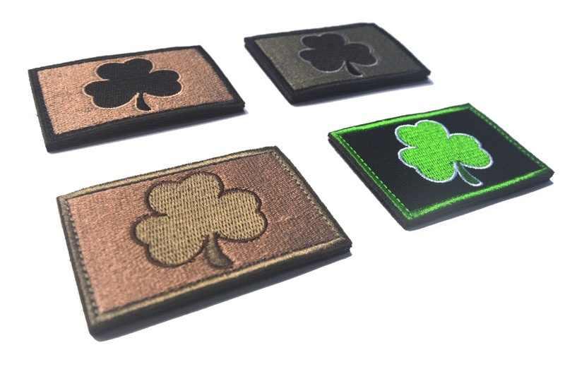 תלתן רקמת תיקון סמל תג מאופק אירי דגל דקורטיבי תפירת אפליקצית קישוט טקטי מורל תיקוני