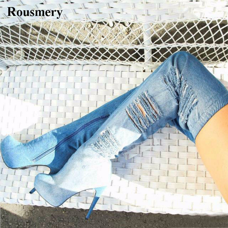 цена на Hot Sale Women Fashion Round Toe Over Knee High Platform Denim Boots Cut-out Slim Style Long High Heel Jean Boots