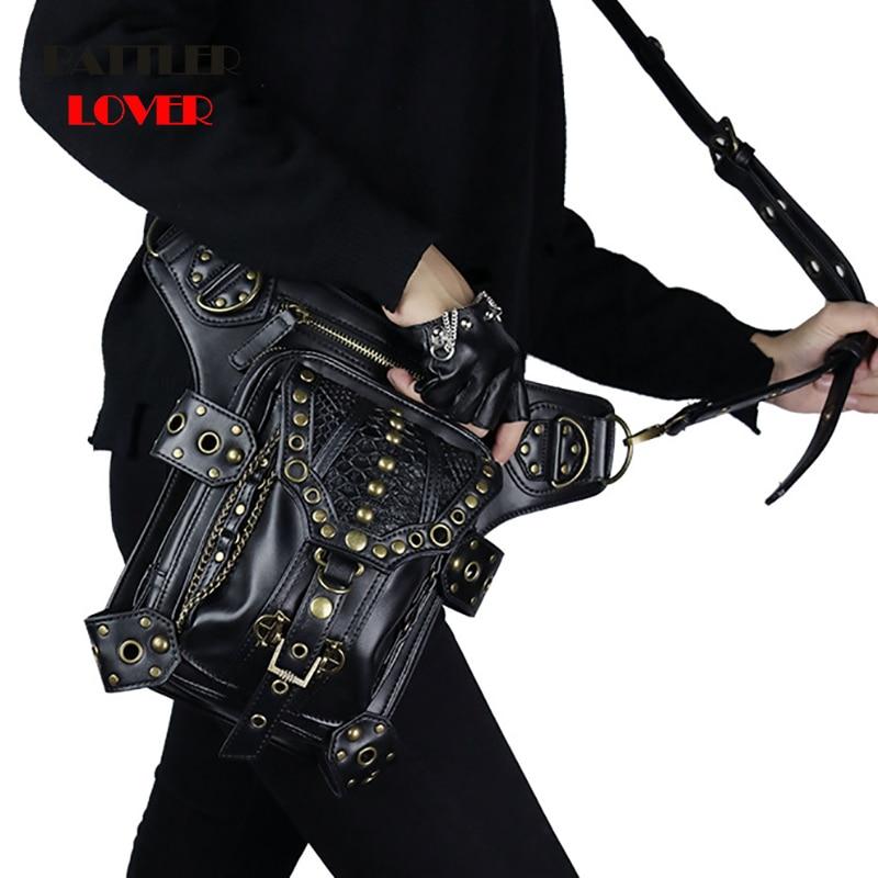 Steampunk Bag Steam Punk Retro Rock Gothic Goth Shoulder Waist Bags Lady Hip Hop Rivet Packs Style for Women Mens Leg Thigh Bag