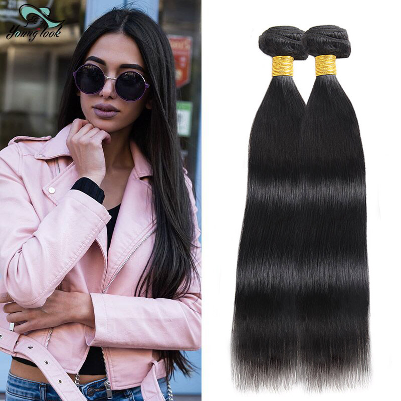 Young Look Peruvian Straight Hair Bundles Human Hair Extensions Double Weft Non Remy Hair Weave Bundles 8-26Natural Color 2PCS
