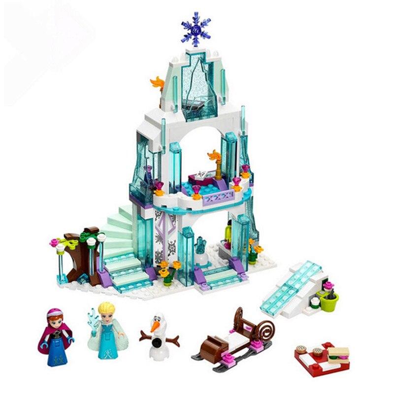 316pcs JG301 Diy Anna Elsa Snow Queen Elsa's Sparkling Ice Castle Block Compatible with Legoingly Model Brick Toys For Children 2016 infantil reloj snow queen princess elsa anna cartoon watch 3d children kids quartz wristwatches clock
