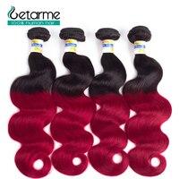 4 Bundles Ombre Brazilian Body Wave Human Hair Bundles T1B/Red Pre plucked Non Remy Hair Weave 4 Bundles 100% Human Hair
