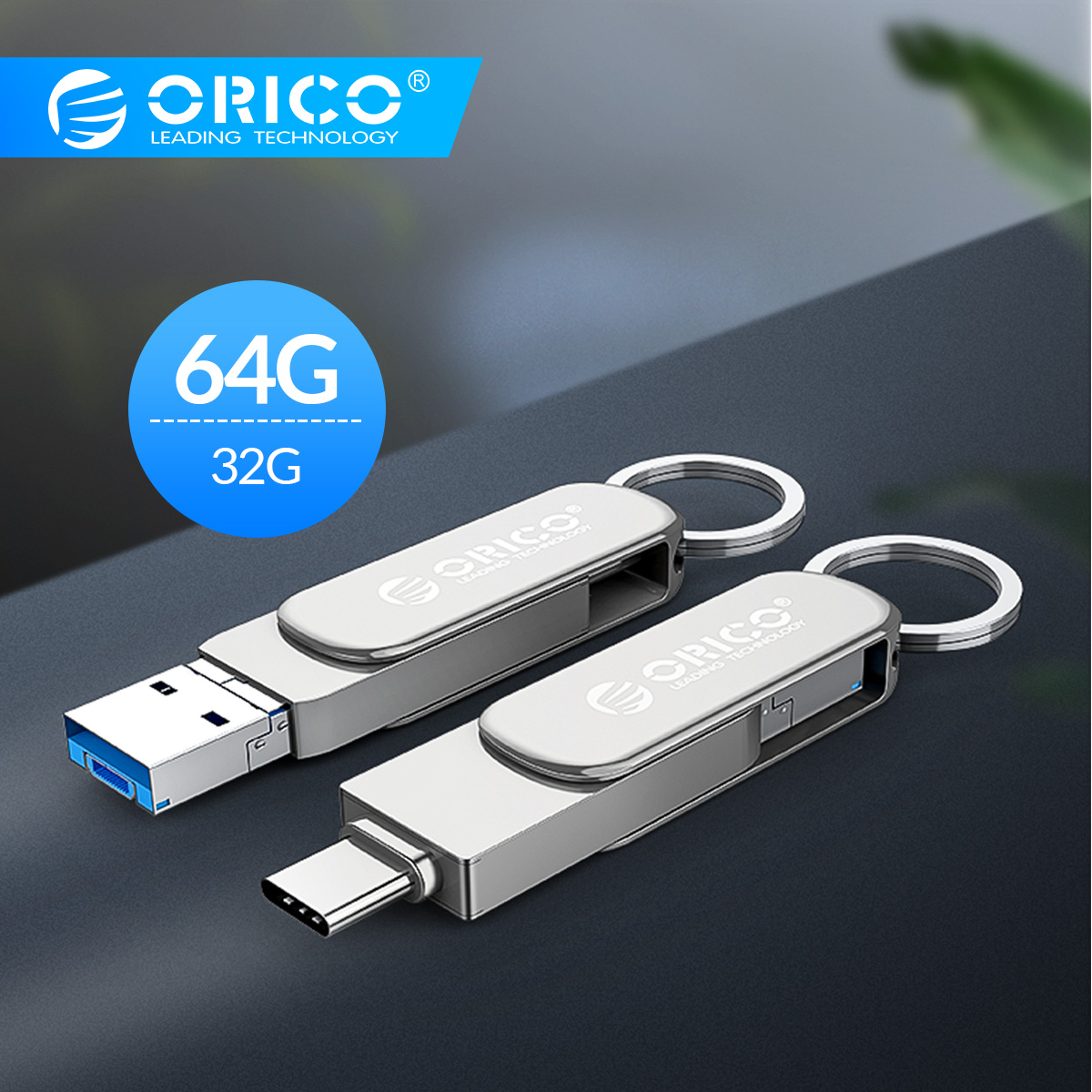 ORICO 3-Em-1 OTG Unidade Flash USB Tipo-C USB3.0 Micro-B 64GB 32GB USB3.0 Flash Memory Stick USB Flash Disk U Para Telefone/Tablet/PC