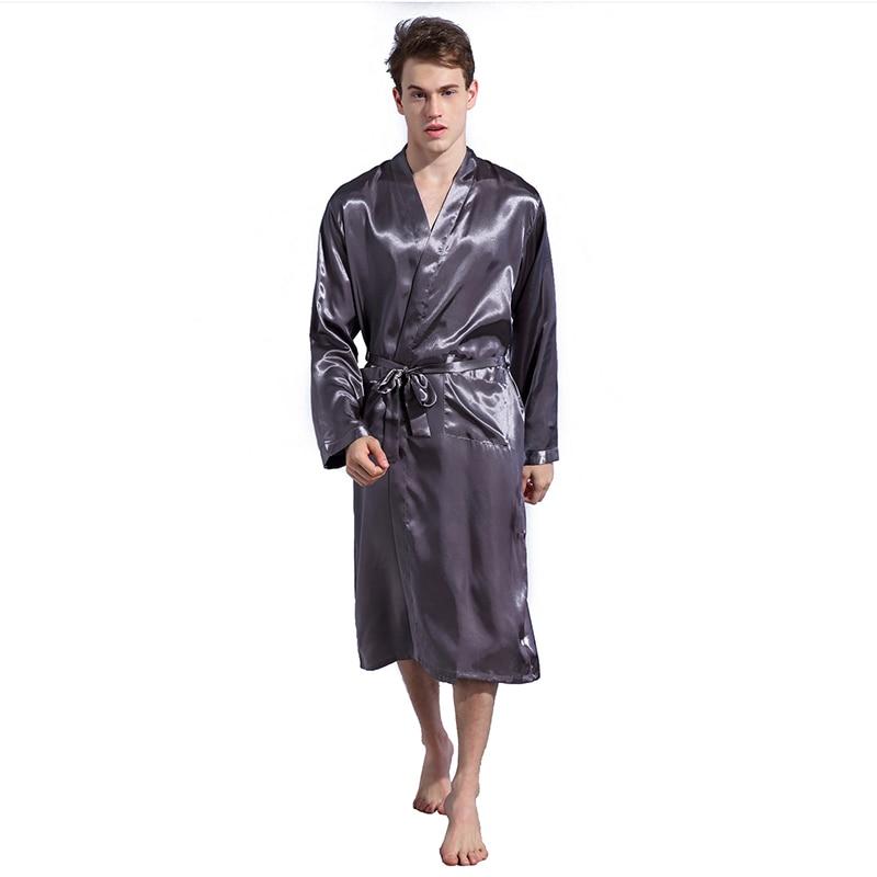 Men Fashion Casual Solid Long Sleeve Soft Long Nightshirts Sleepwear