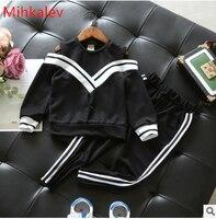 Mihkalev Active Cotton Kids Clothings Sets Autumn 2017 2PCS Black Children Sport Suits Long Sleeve Tops