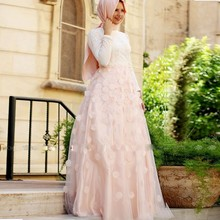 Dubai Arabic Muslim Evening Dresses Long Sleeves Flowers High Neck with Hijab Moroccan Prom Party Gowns 2016 Elegant Custom