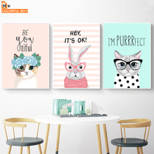 Cartoon Rabbit Cat Quotes Wall Art Canvas Painting Nordic Posters And Prints Animals Pop Art Wall Pictures Kids Room Girls Decor цена