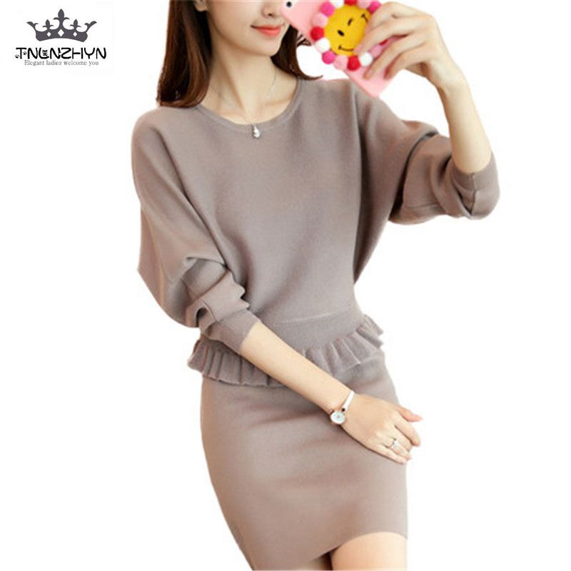 2017 Spring Autumn Women Knitted Sweater Suit Bat sleeve Sweater Pullover Slim Package Hip Short Dress