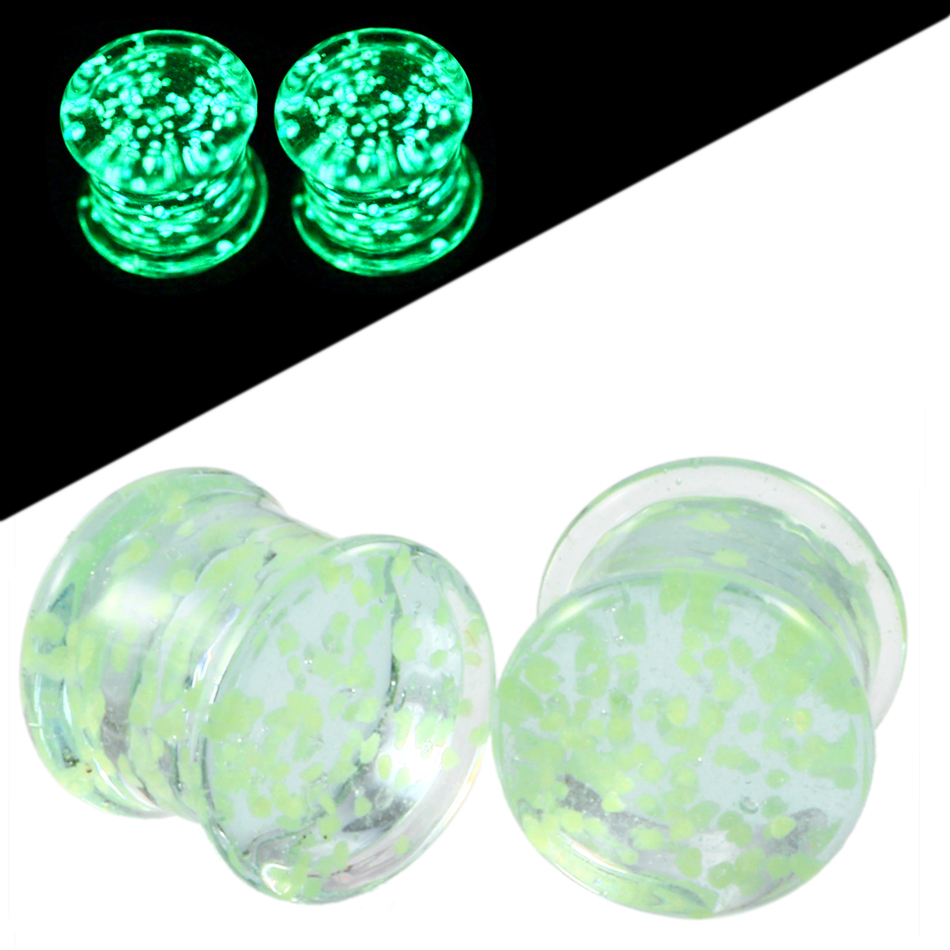 Hot Sale Pair Glass Green Ear Plug and Tunnels Piercing Glow in Dark Ear Gauges Expander Stretcher Sexy Body Jewelry 5mm-14mm