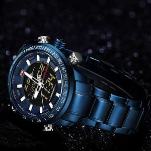 Image 3 - NAVIFORCE Watches Men Full Steel Quartz Digital Clock Waterproof Watch Mens Fashion Blue Watch Relogio Masculino Dropshipping
