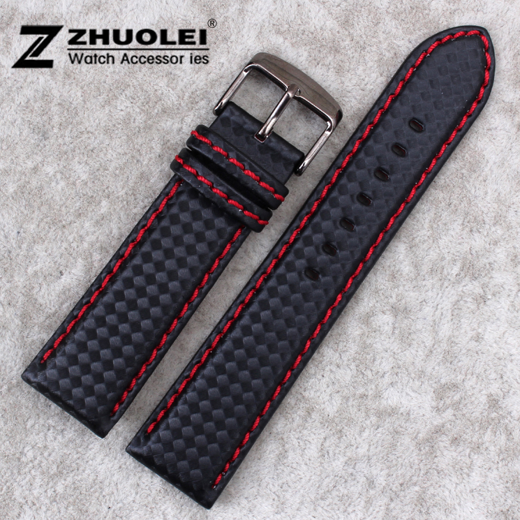 Carbon fiber particles watchband 18mm 20mm 22mm 24mmBlack Waterproof Red Stitching With Genuine Leather inner Watch Band Strap carbon fiber watchband bottom is genuine leather red stitched 20mm 22mm black watch accessories bracelet watch strap band