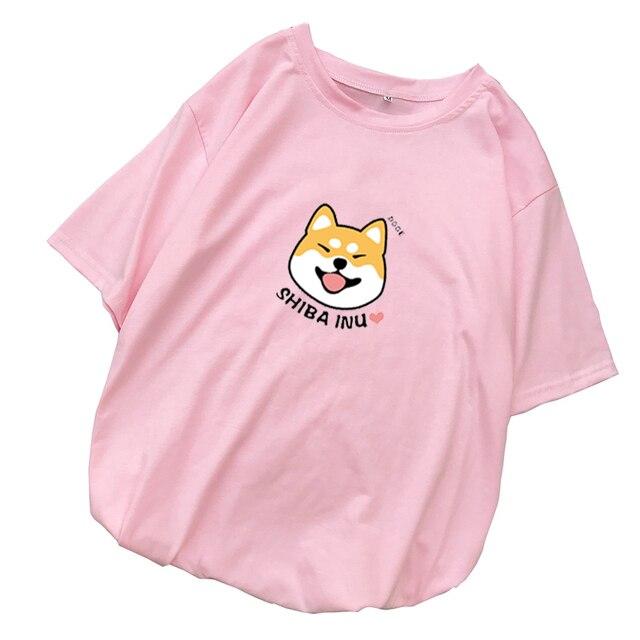 Camiseta kawaii rosa de Shiba