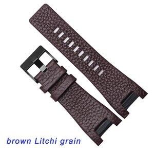 Image 4 - Kalite Hakiki Deri Watchband 32*17MM Çentik Dizel DZ1216 DZ4246 izle bant Özel arayüz Yedek Deri Kayış